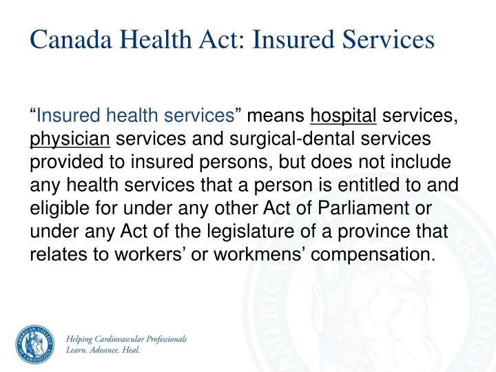 Canada Health Act: Insured Services