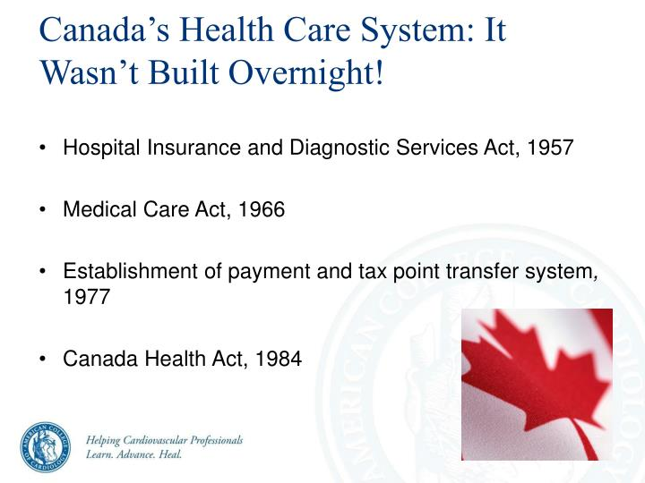Canada's Health Care System: It Wasn't Built Overnight!