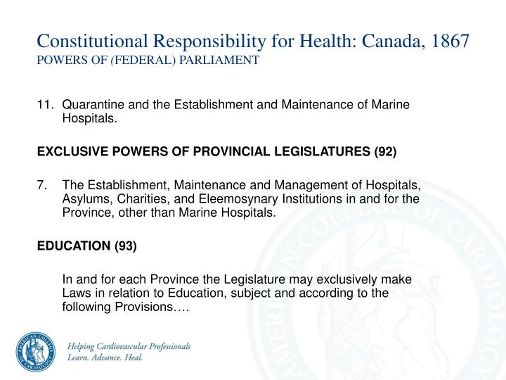 Constitutional Responsibility for Health: Canada, 1867