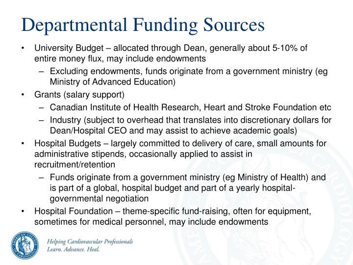 Departmental Funding Sources