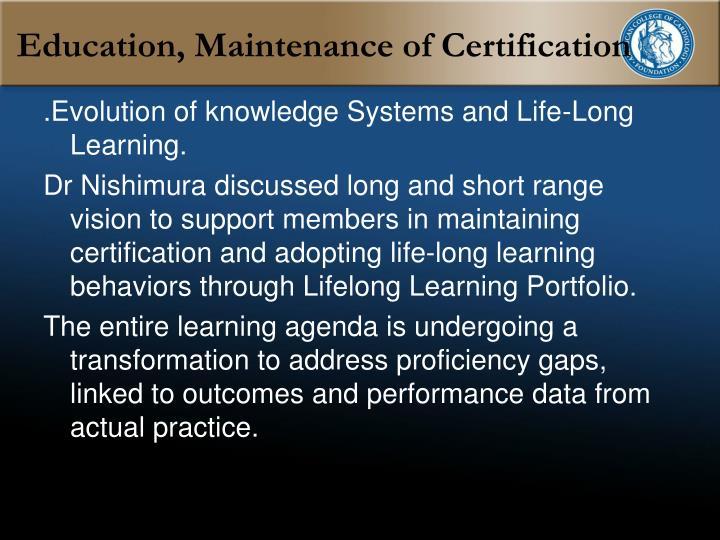 Education, Maintenance of Certification