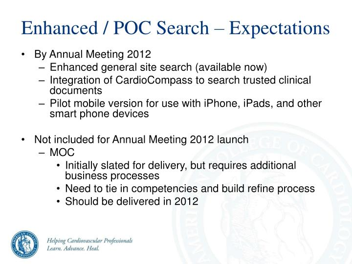 Enhanced / POC Search – Expectations