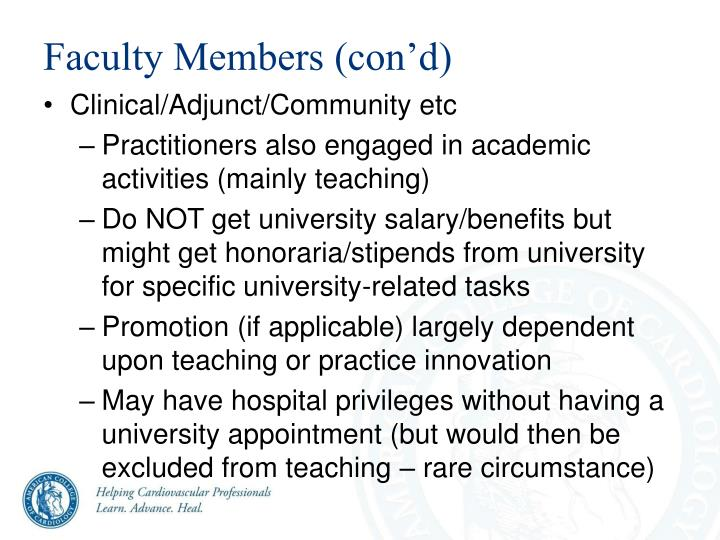 Faculty Members (con'd)