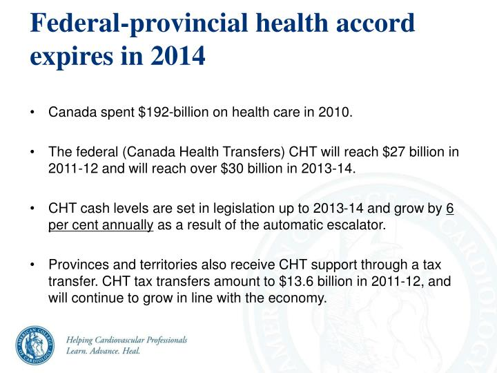 Federal-provincial health accord expires in 2014