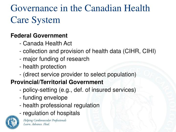 Governance in the Canadian Health Care System