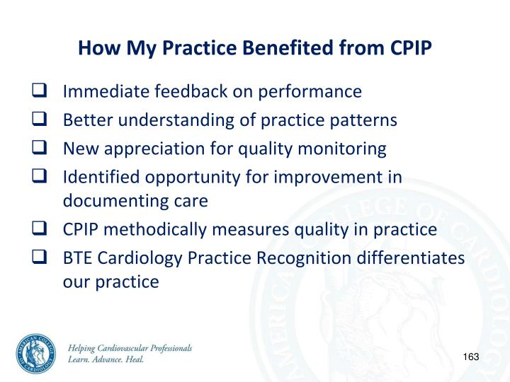 How My Practice Benefited from CPIP
