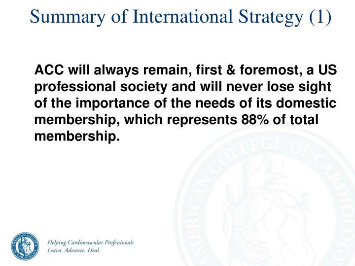 Summary of International Strategy (1)