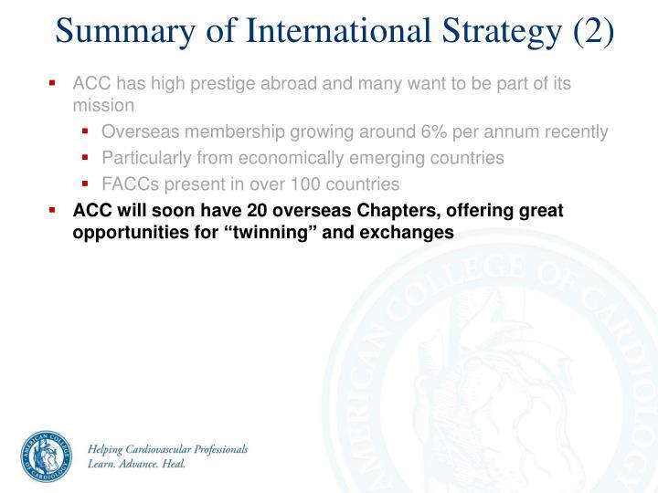 Summary of International Strategy (2)