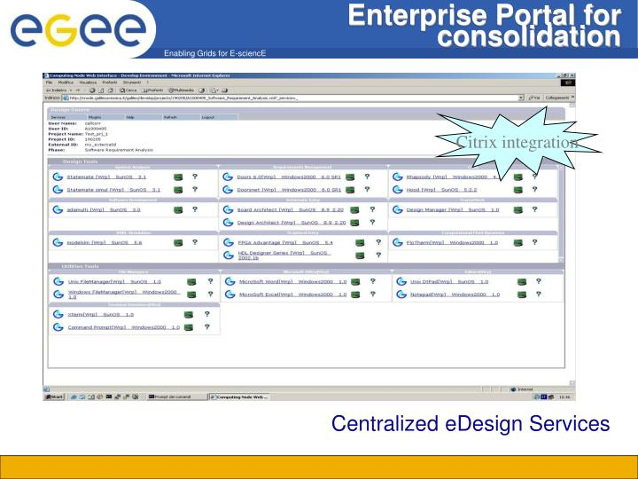 Enterprise Portal for consolidation