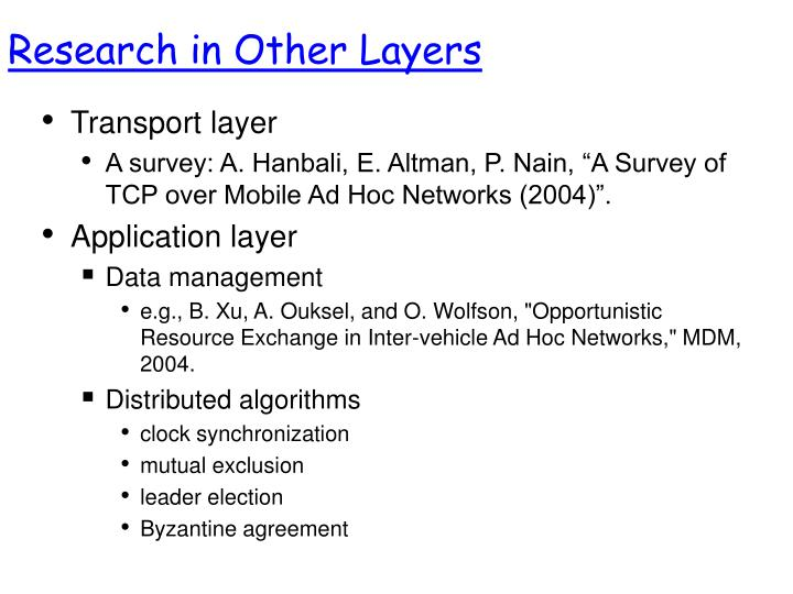 Research in Other Layers