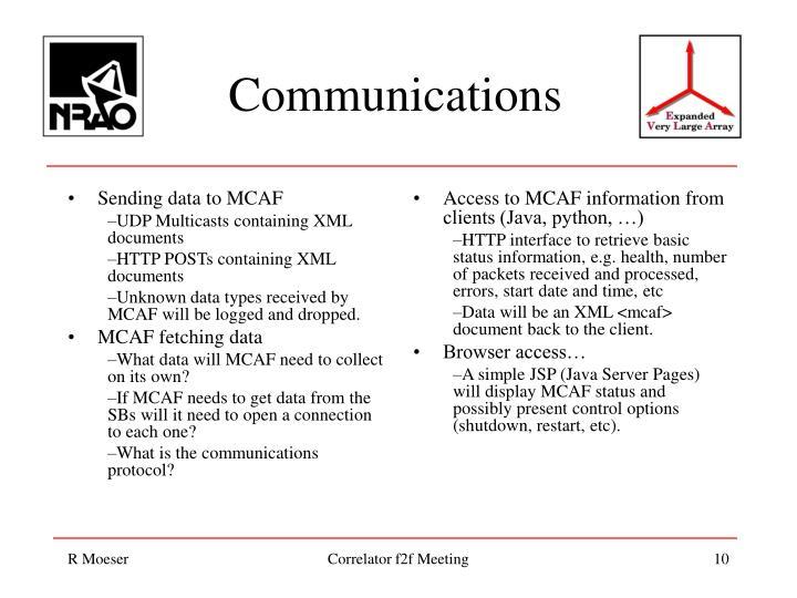 Sending data to MCAF