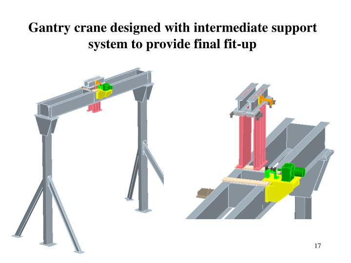 Gantry crane designed with intermediate support system to provide final fit-up