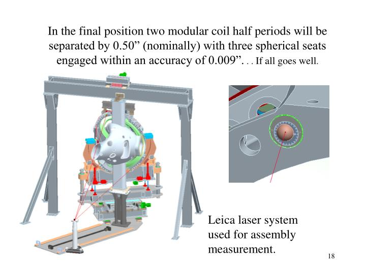 """In the final position two modular coil half periods will be separated by 0.50"""" (nominally) with three spherical seats engaged within an accuracy of 0.009""""."""