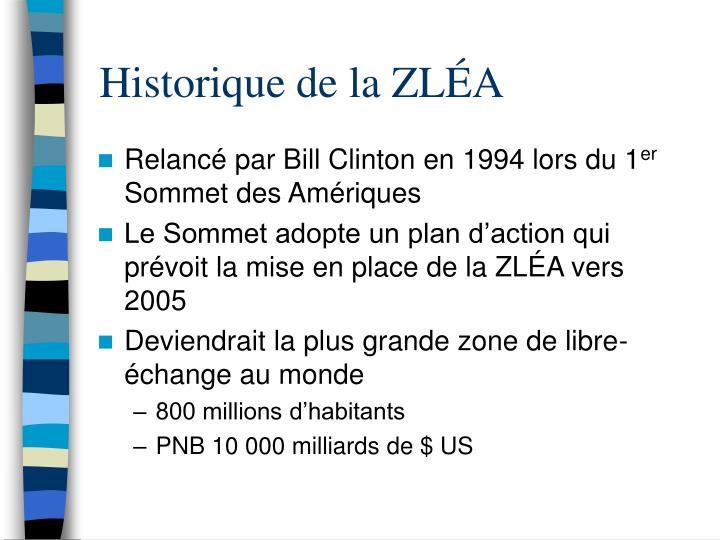 Historique de la ZLÉA