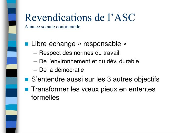 Revendications de l'ASC