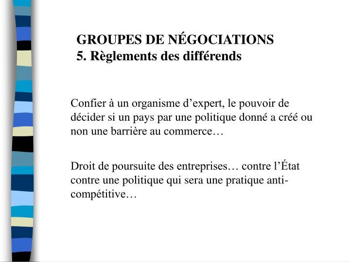 GROUPES DE NÉGOCIATIONS