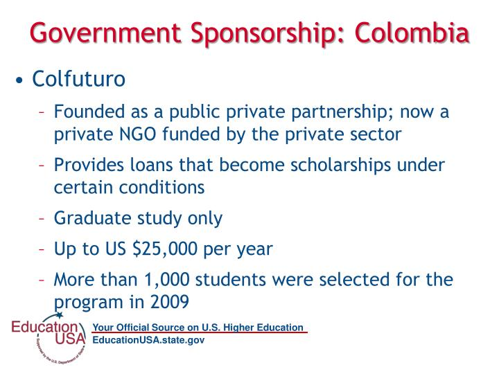 Government Sponsorship: Colombia