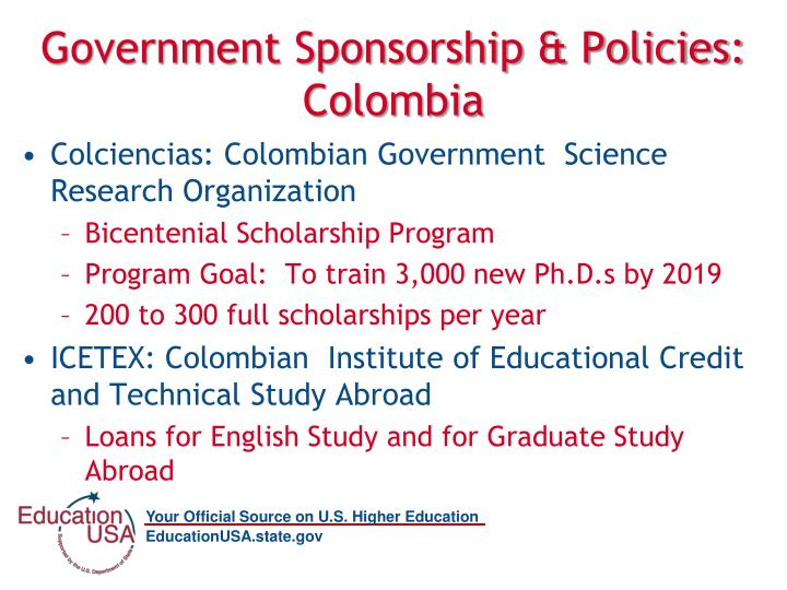 Government Sponsorship & Policies: Colombia