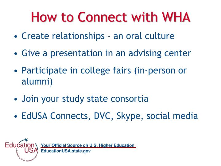 How to Connect with WHA