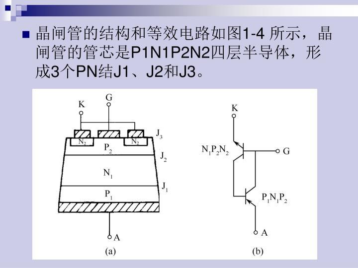 晶闸管的结构和等效电路如图