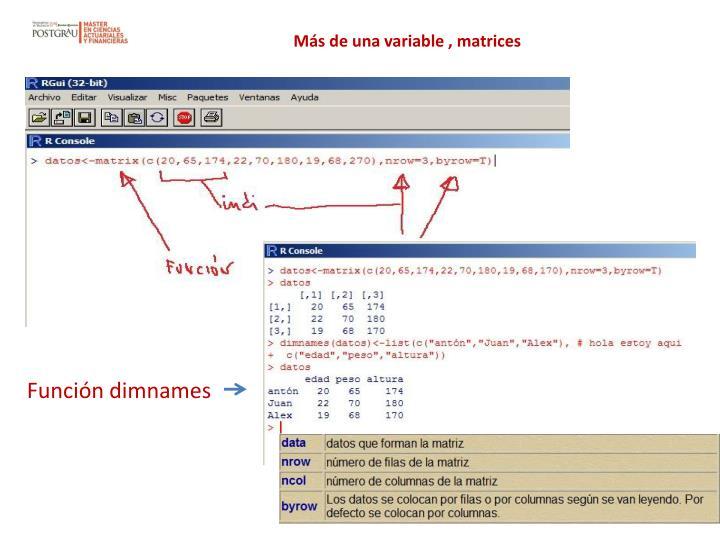 Más de una variable , matrices