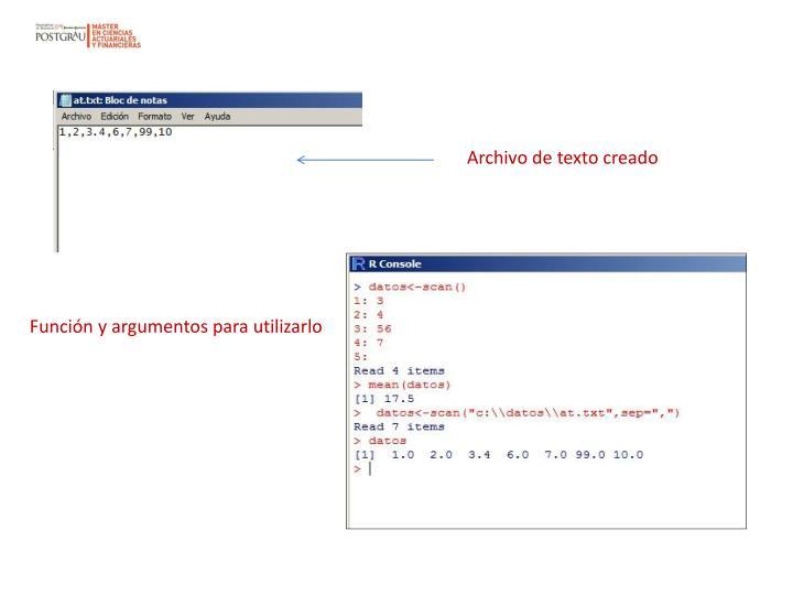 Archivo de texto creado