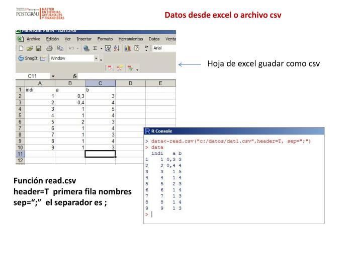 Datos desde excel o archivo csv