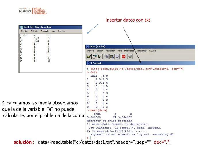 Insertar datos con txt