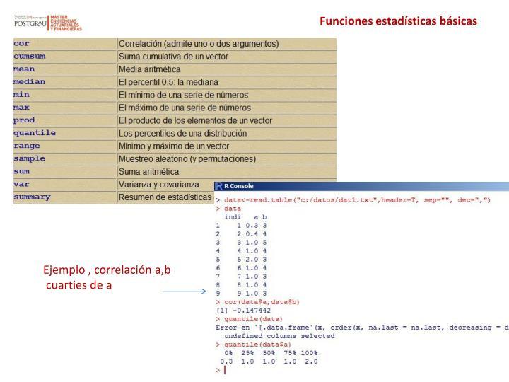 Funciones estadísticas básicas