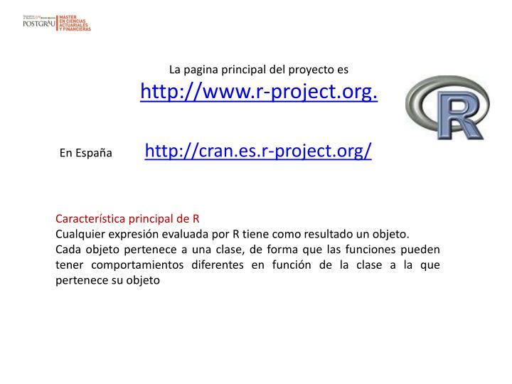 La pagina principal del proyecto es
