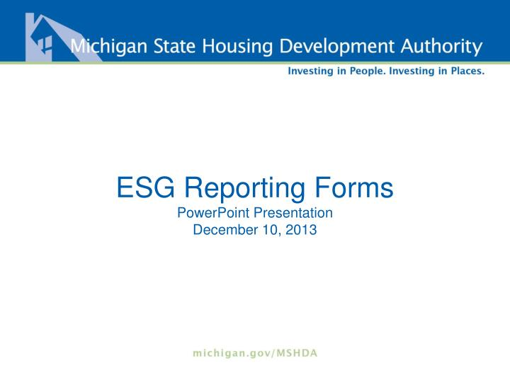 Esg reporting forms powerpoint presentation december 10 2013