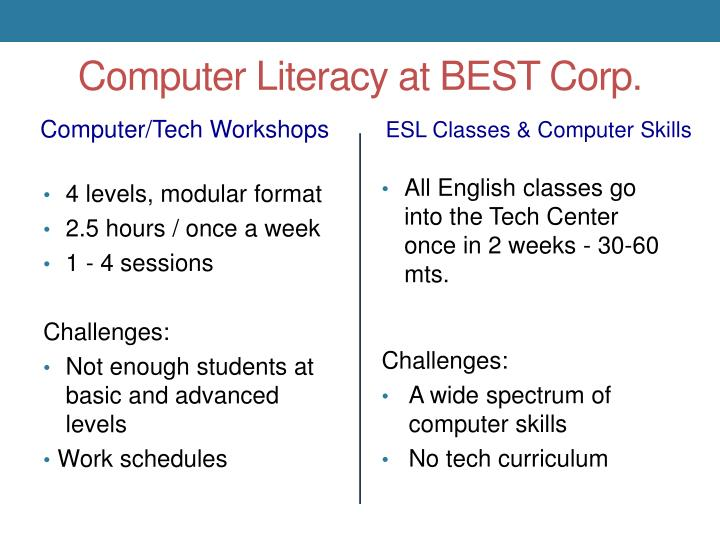 Computer Literacy at BEST Corp.