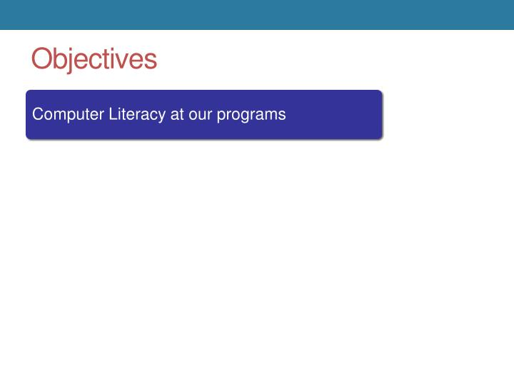 Computer Literacy at our programs