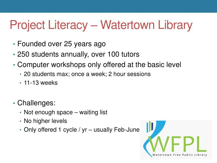 Project Literacy – Watertown Library