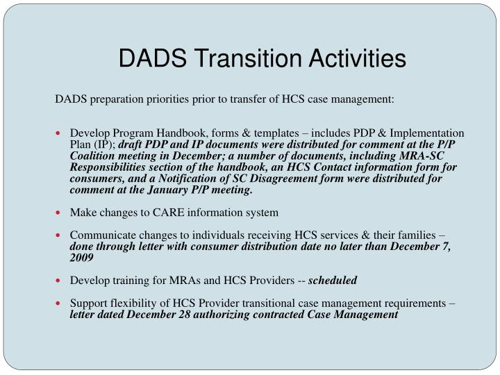 DADS Transition Activities