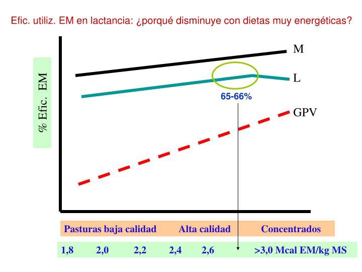 Efic. utiliz. EM en lactancia: ¿porqué disminuye con dietas muy energéticas?