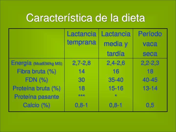 Característica de la dieta