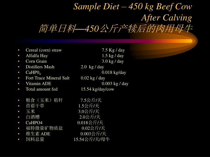 Sample Diet – 450 kg Beef Cow