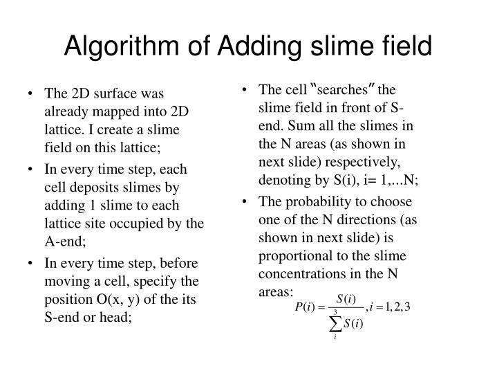 Algorithm of Adding slime field