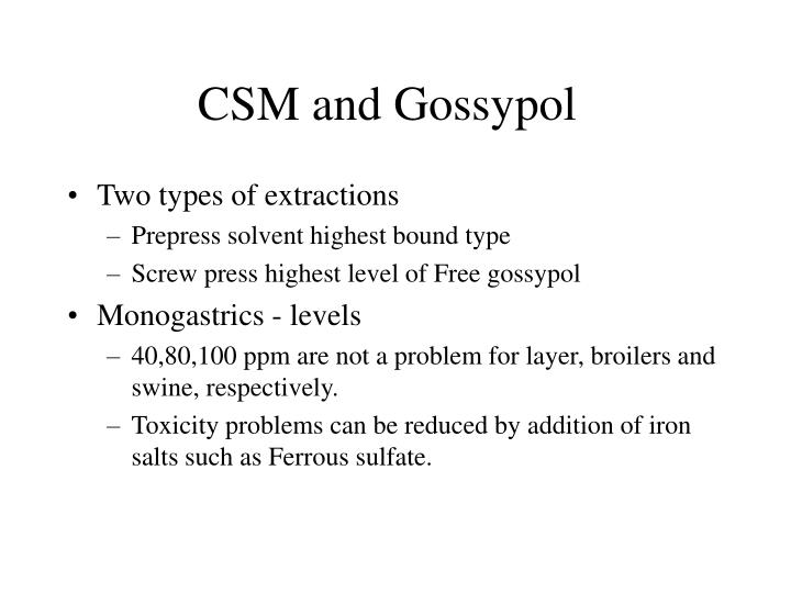 CSM and Gossypol