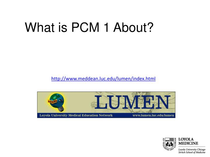What is PCM 1 About?