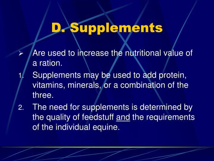 D. Supplements