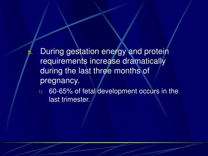 During gestation energy and protein requirements increase dramatically during the last three months of pregnancy.