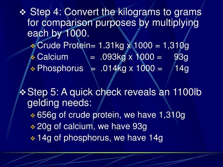Step 4: Convert the kilograms to grams for comparison purposes by multiplying each by 1000.