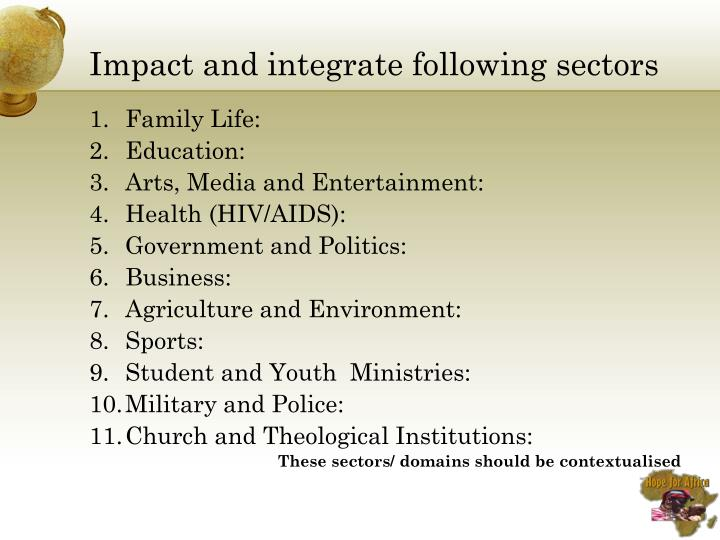 Impact and integrate following sectors