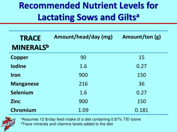Recommended Nutrient Levels for Lactating Sows and