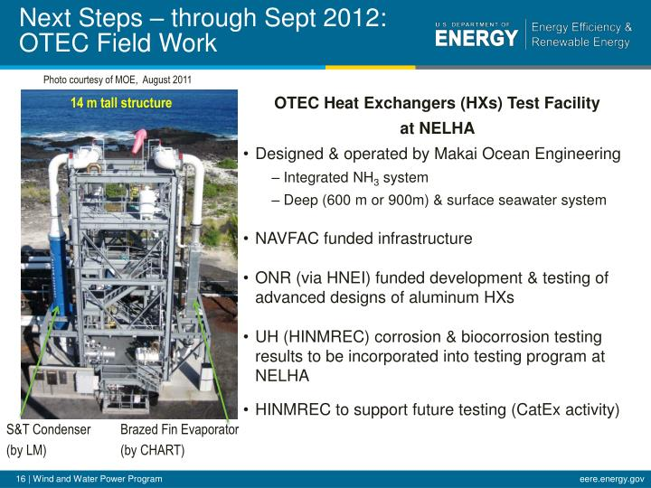 Next Steps – through Sept 2012: