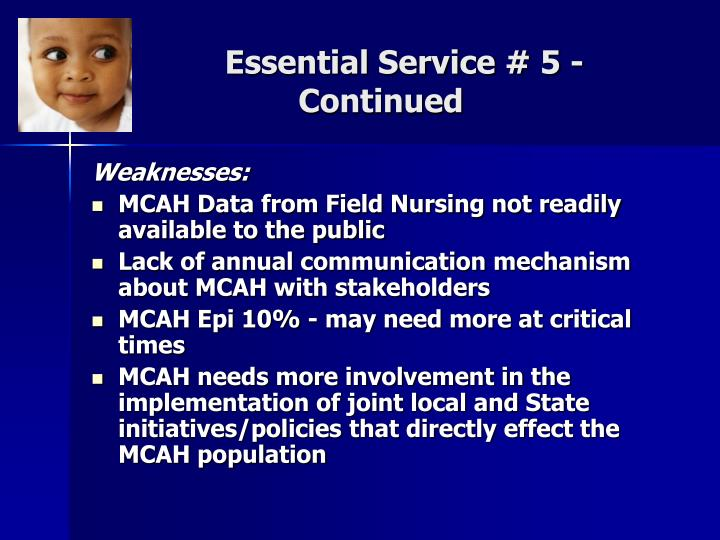 Essential Service # 5 - Continued