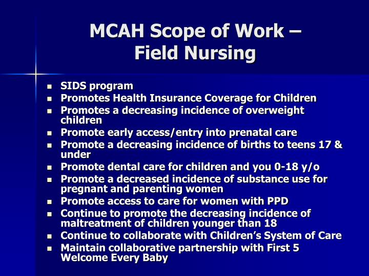MCAH Scope of Work –