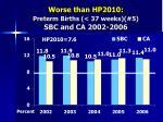 worse than hp2010 preterm births 37 weeks 5 sbc and ca 2002 2006
